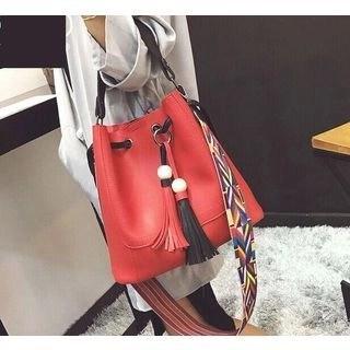 Set: Tasseled Bucket Bag + Faux Leather Shoulder Bag