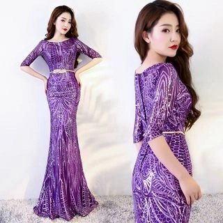 Sennyo Elbow-Sleeve Sequined Evening Gown