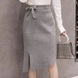 Yipin Bow Accent Midi Knit Straight-Fit Skirt