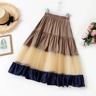 englard Color-Block Mesh Panel Skirt