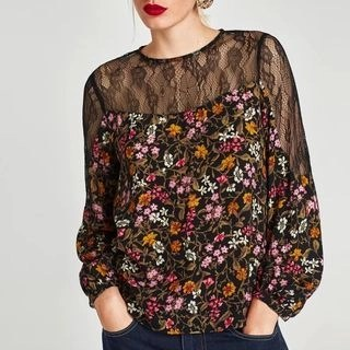 Chicsense Long-Sleeved Floral Print Panel Lace Blouse