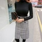 Set: Turtle-Neck Knit Top + Glen-Plaid Skirt with Belt