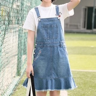 YICON Lettering Dungaree Dress