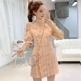 Vanaheim Cold-Shoulder Mini Plaid A-Line Dress
