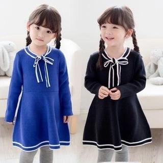 Seashells Kids Kids Bow Accent Long Sleeve Knit Dress N/A