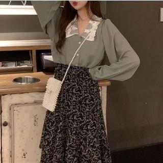 Shinsei Chiffon Blouse / Floral Midi A-Line Skirt