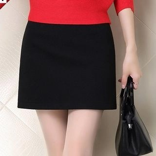 Yipin Plain A-Line Mini Skirt