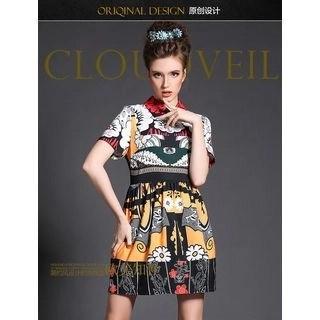 Short-Sleeve Collared Print Dress