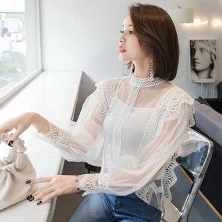 Harmonium Lace Panel Mock-Neck Mesh Blouse