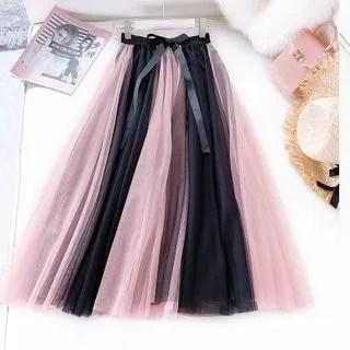 englard Two-Tone Ribbon Accent Mesh Skirt