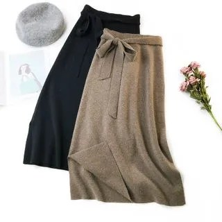 englard Knit Tie-Waist Side-Slit Skirt