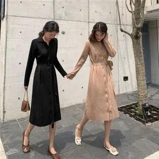 KANAMI Long-Sleeve Buttoned Midi A-Line Knit Dress