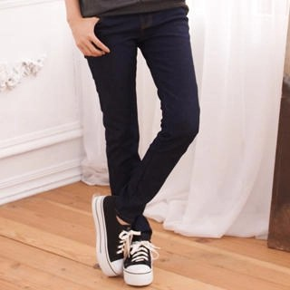 Brushed Fleece-Lining Elastic-Waist Skinny Jeans