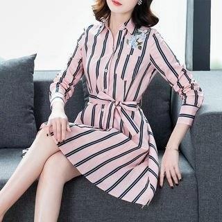 chic n' fab Long-Sleeve Striped A-Line Shirt Dress