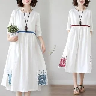 Diosa Embroidered Elbow-Sleeve A-Line Dress