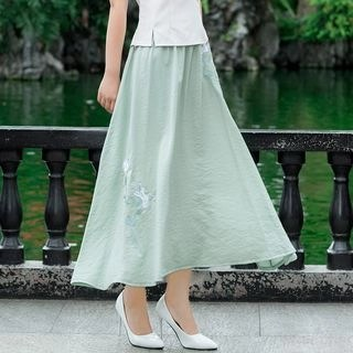 Diosa Maxi A-Line Embroidered Skirt