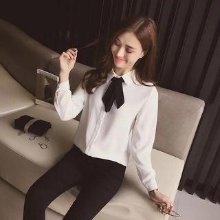 Tie-Neck Chiffon Shirt White