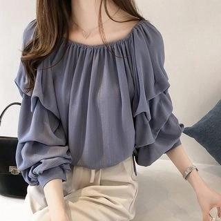 lilygirl Long-Sleeve Chiffon Blouse