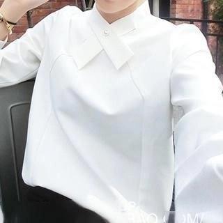 Neeya Faux Pearl Long-Sleeve Blouse