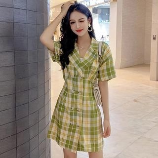 Vanaheim Short-Sleeve Plaid Mini A-Line Dress