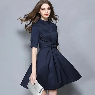 Allury Short-Sleeve Tie-Waist Dress
