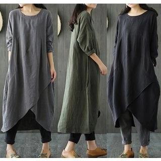 Allury Long-Sleeve Asymmetrical T-Shirt Dress