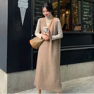 A7 SEVEN Sleeveless Knit Midi Dress