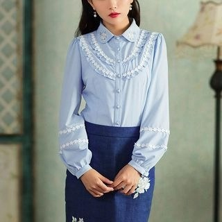 Long-Sleeve Paneled Embroidered Blouse Blue