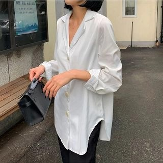 A7 SEVEN Plain V-Neck Blouse