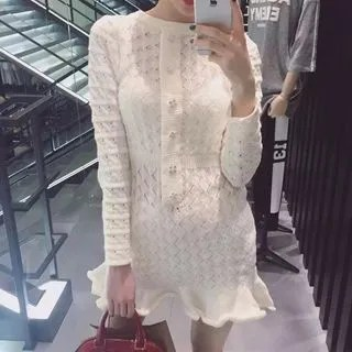 Alberlino Long-Sleeve Mini Mermaid Knit Dress