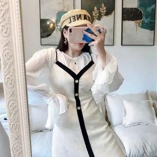 Sodoo Strappy Knit A-line Dress