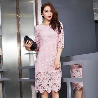 chic n' fab Elbow-Sleeve Lace Dress