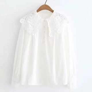 Suzette Lace Collar Long-Sleeve Blouse White - One Size