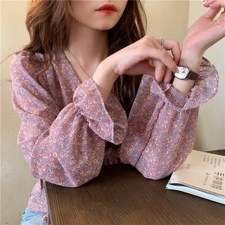 CosmoCorner Floral Long-Sleeve Blouse Purple - One Size