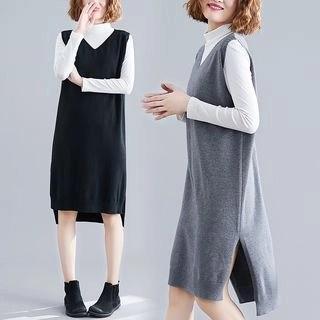 Diosa Sleeveless Slit Knit Dress