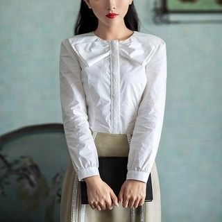 Long-Sleeve Bow-Accent Paneled Blouse White