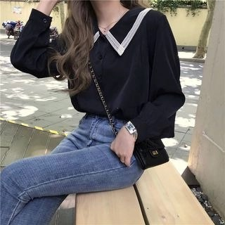 CosmoCorner Lace Long-Sleeve Loose-Fit Blouse