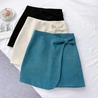 englard Bow Accent Corduroy A-Line Skirt