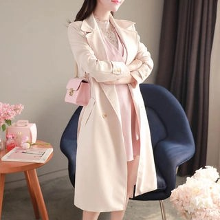 MyFiona Double-Breasted Flap Trench Coat