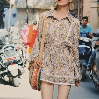 Sincethen Long-Sleeve Floral Blouse / High-Waist Crochet Panel Shorts