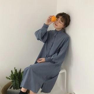 Kamakura Band Collar Midi Shirtdress
