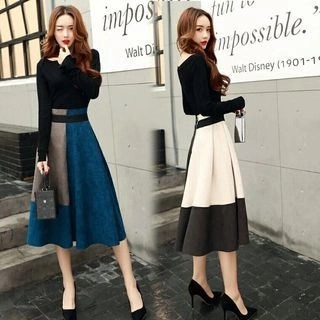Allury Color-Block Midi Skirt