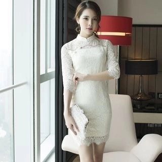 Aurora 3/4-Sleeve Lace Sheath Dress