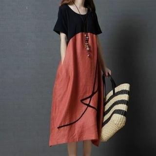 Diosa Paneled Short-Sleeve Midi Dress