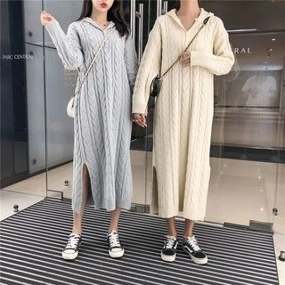 Finlo Hooded Long-Sleeve Midi Cable-Knit Dress