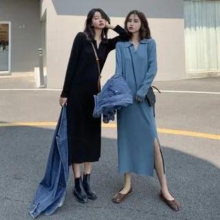 KANAMI Long-Sleeve Collared Midi A-Line Knit Dress