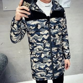 Hooded Printed Padded Coat Army Green