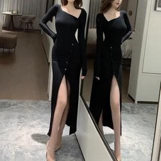 Sodoo Square Neck Long-Sleeve Midi Sheath Dress