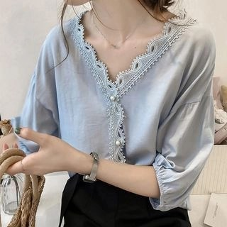 lilygirl Elbow-Sleeve Lace Trim Blouse
