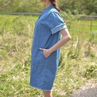 Fray-Edge Half-Placket Denim Dress